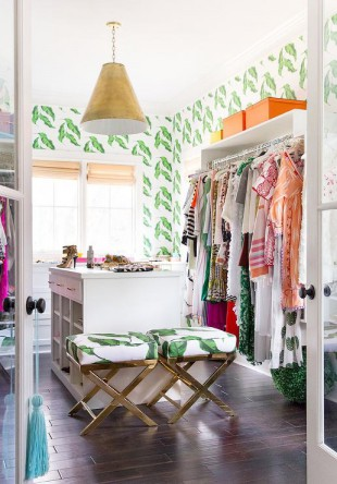 green-walk-in-closet-banana-leaves-wallpaper-hermes-orange-accents