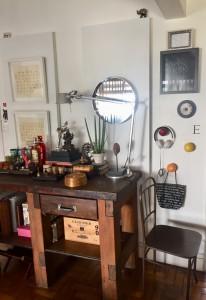 Bancada de marceneiro usada na sala arquiteta